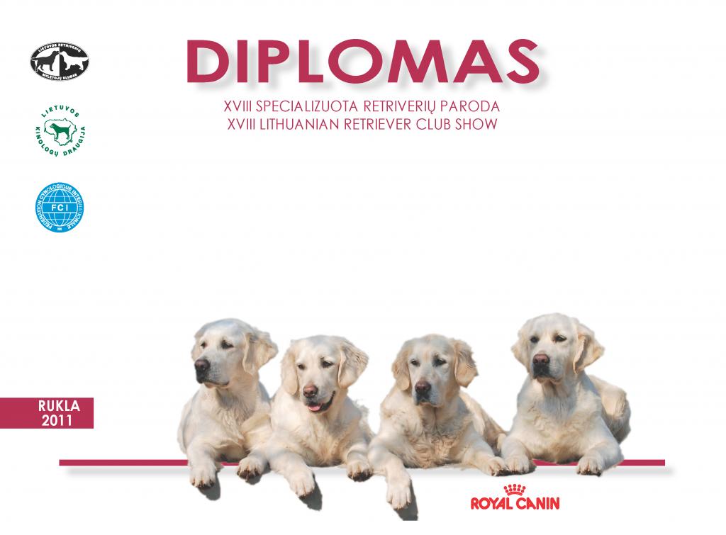 Specializuotos retriverių parodos (2011 05 08) diplomas