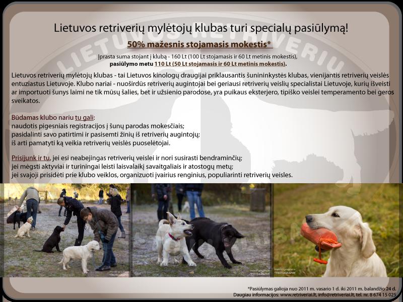 Lietuvos retriverių mylėtojų klubo pasiūlymas