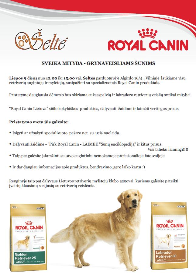 """Gyvūnų prekių parduotuve """"Šeltė"""" ir """"Royal Canin"""" kartu su Lietuvos retriverių mylėtojų klubu pristato pašarus retriverių veislėms."""